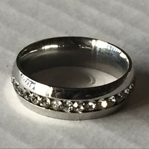 Sz 11 Stainless Steel w/ Clear Stones Ring- New